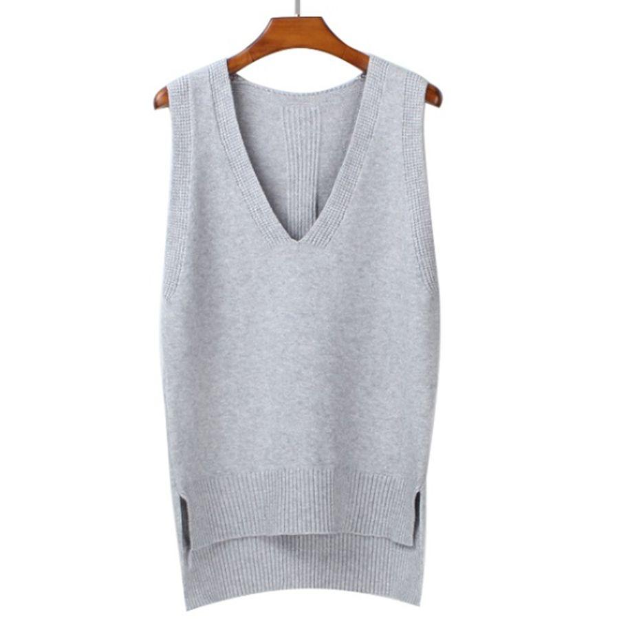 2018 Spring loose vest V neck knitted sleeveless sweater for women Side split grey sweaters vests Pullover female waistcoat vest