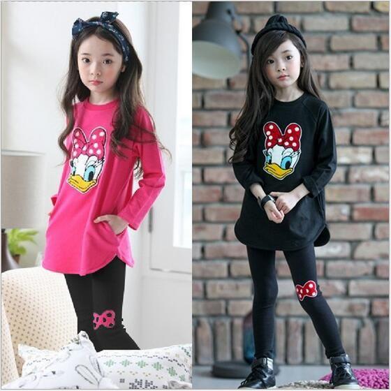 Nouveau bébé filles vêtements ensembles automne Costume pour filles vêtements Donald canard vêtements à manches longues enfants vêtements pour filles