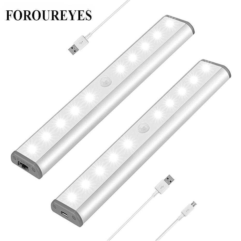 LED sous meuble lumière PIR lampe capteur de mouvement 10 LED s eclairage pour armoire placard placard cuisine veilleuse
