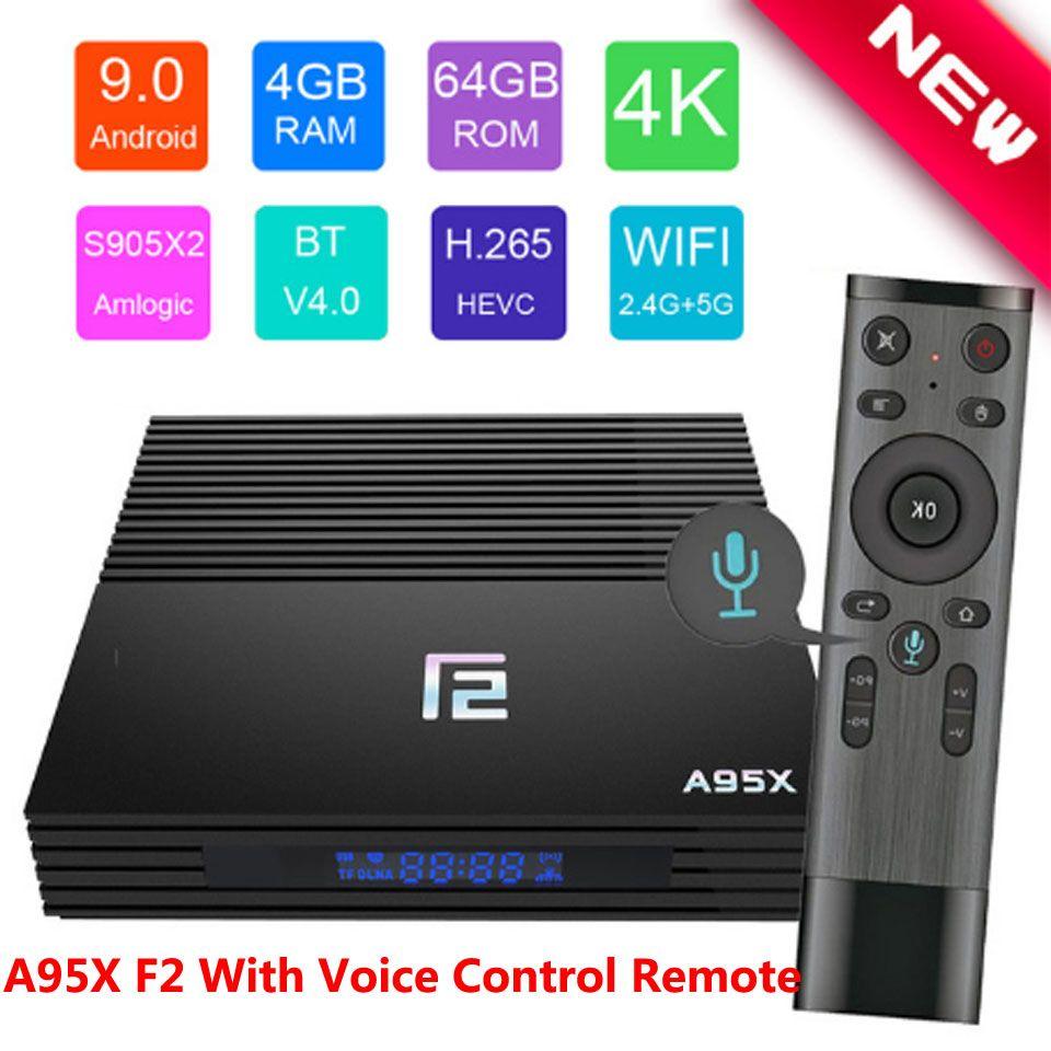 Android TV BOX A95X F2 Set Top Box Voice Control 4 K 2,4G & 5G Dual Band WIFI bluetooth LAN USB3.0 HDMI 4G 64G TV BOX Android 9.0