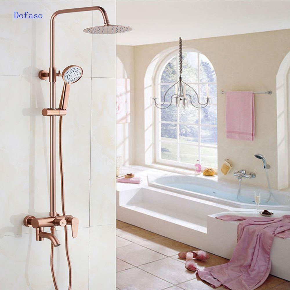 Dofaso luxus Rose Gold kupfer dusche wasserhahn Bad antiken Dusche Set 8