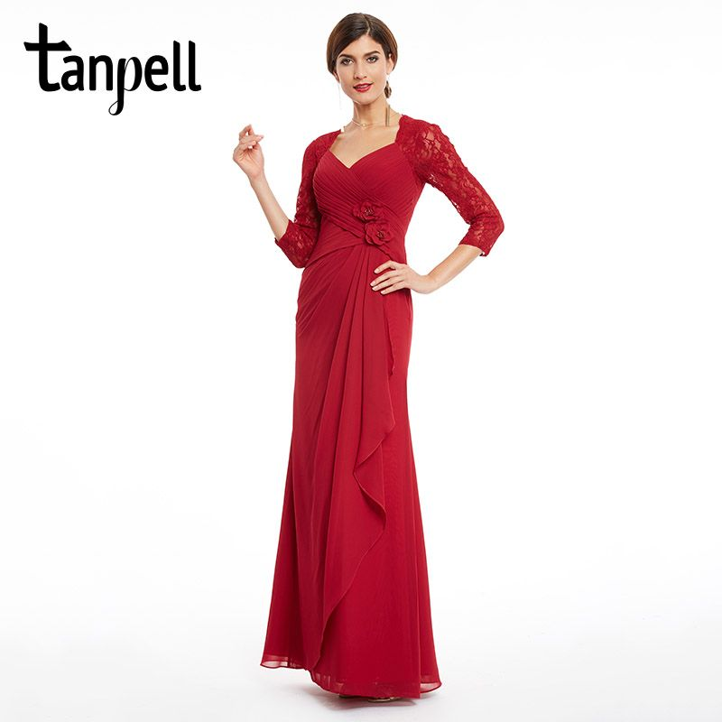 Tanpell three quarter sleeves evening dress v neck burgundy flowers lace dresses women party pleats straight long evening gown