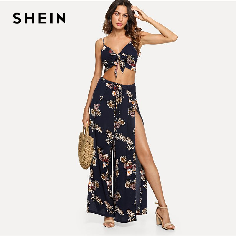 SHEIN Multicolor Vacation Boho Bohemian Beach Floral Print Cami Top And Palazzo Pants Set Summer Women Sexy Twopiece
