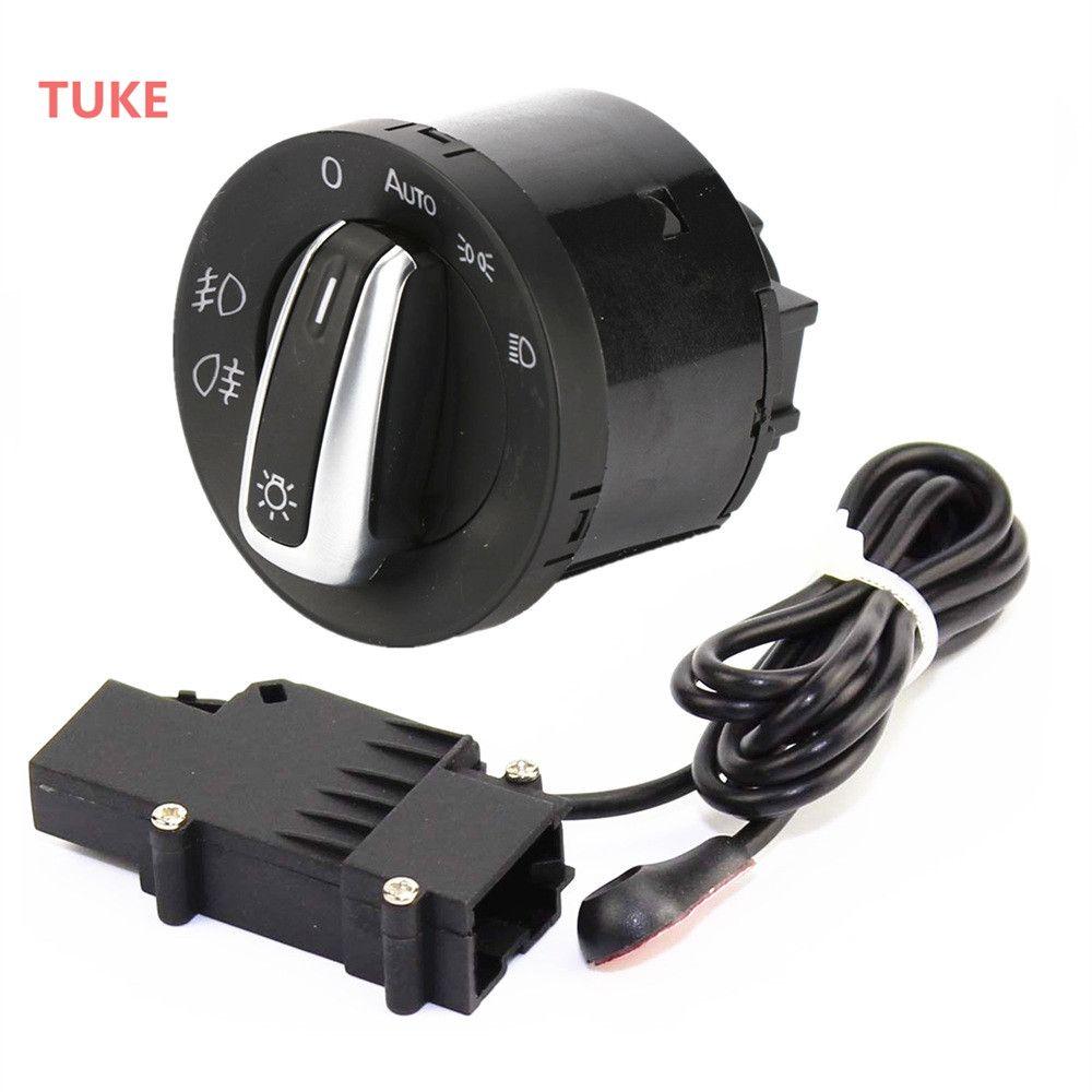 TUKE 2 Stücke Chrome Scheinwerfer Schalter & Sensor Modul Für VW GOLF MK5 6 JETTA 5 PASSAT TIGUAN CADDY TOURAN 5ND 941 431 B 5ND941431B