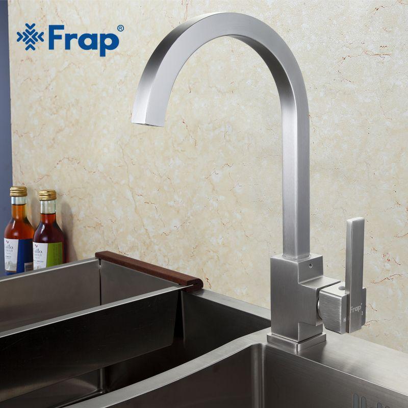 Neue Ankunft Frap Heißes und Kaltes Wasser Küchenarmatur Raum Aluminium Gebürstet Schwenk Kran 360 grad-umdrehung F4052-5