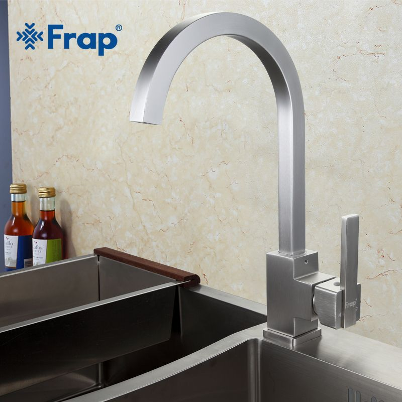 New Arrival Frap Hot and Cold Water Kitchen Faucet Space Aluminum Brushed Swivel Crane 360 degree rotation F4052-5