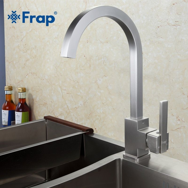 New Arrival Frap Hot and Cold Water Kitchen Faucet Space Aluminum Brushed Swivel <font><b>Crane</b></font> 360 degree rotation F4052-5