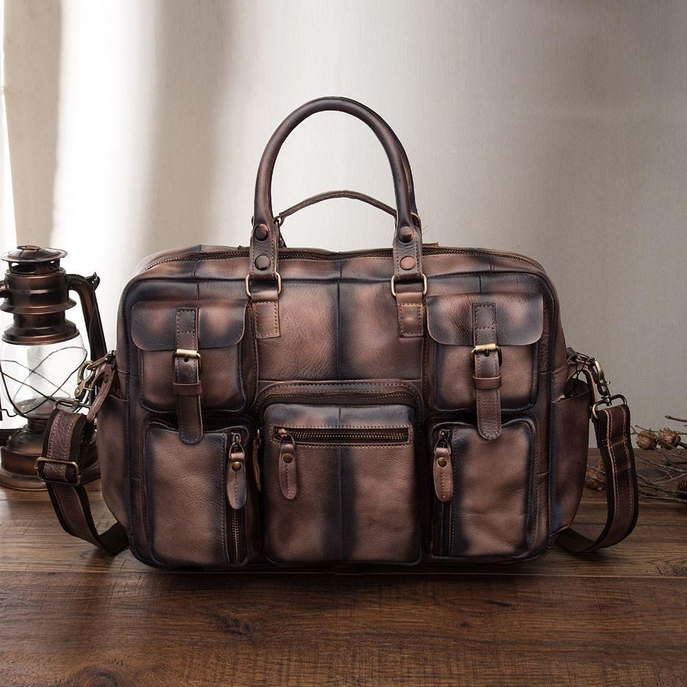 Men Original Leather Fashion Business Briefcase Messenger Bag Male Design Travel Laptop Document Case Tote Portfolio Bag 3061