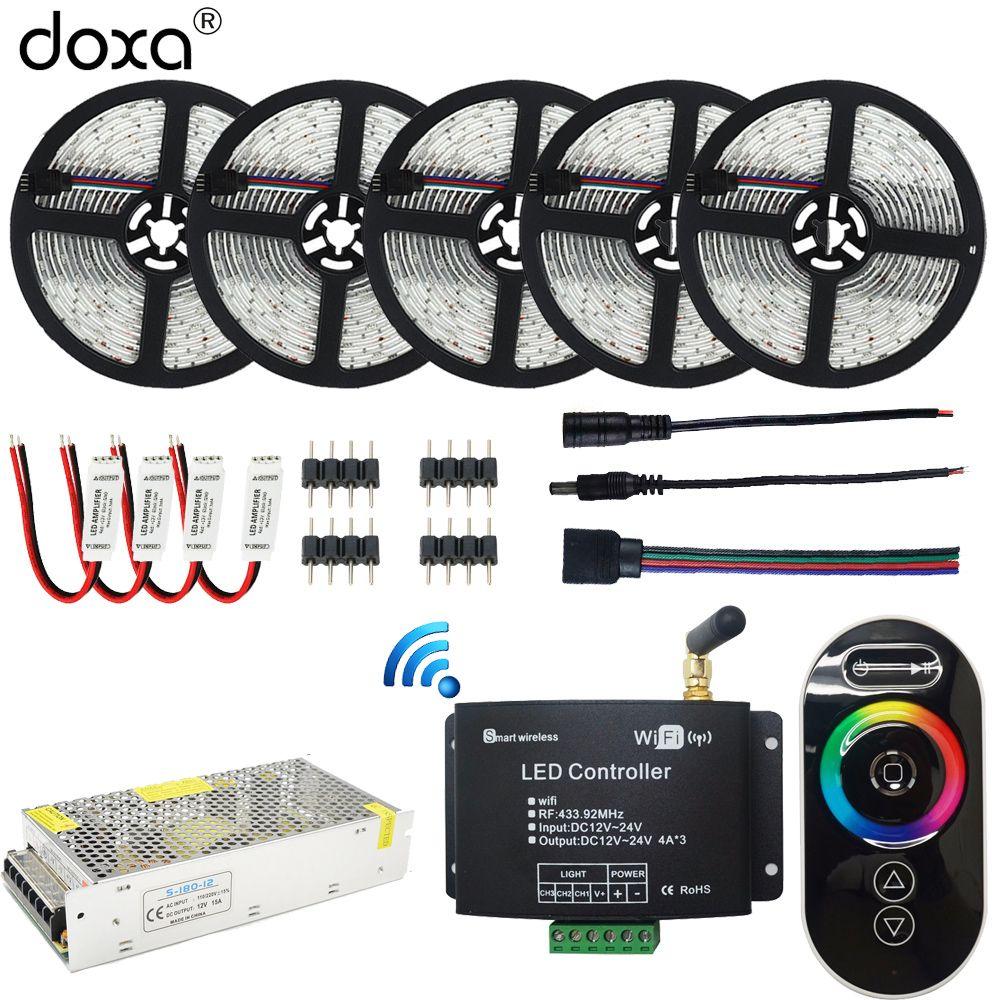 BLYN 25M WIFI RGB LED Strip 5050 Waterproof Strips Light 15M 10M +RF Remote WIFI RGB Controller+LED Amplifier+ 12V Power Supply