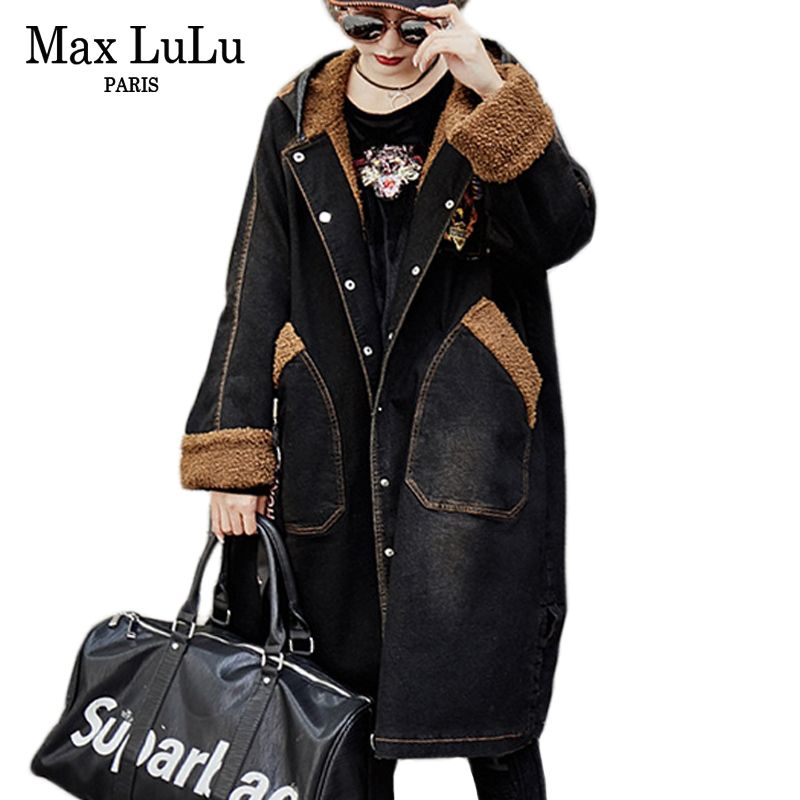 Max LuLu Luxury Punk Pattern Girls Denim Windbreaker Womens Jeans Winter Jacket Hooded Long Parka Woman Fur Coat Chaqueta Mujer