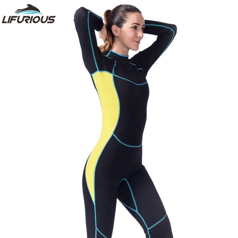LIFURIOUS Neoprenanzug für Schwimmen Frauen Neopren Langärmelige Overall Schnorcheln Badebekleidung Neoprenanzüge Frauen Surfen Speerfischen Anzug