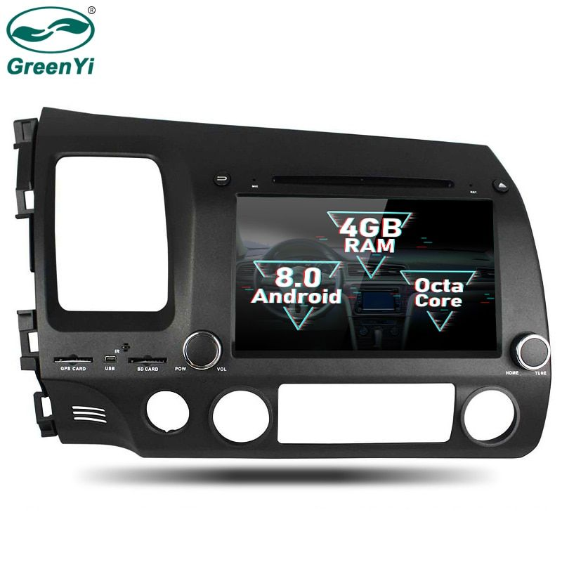 GreenYi 2 Din Android 8.0 Octa Core Car DVD Player for Honda CIVIC 2006-2011 GPS Navigation Multimedia Radio Stereo Head Unit