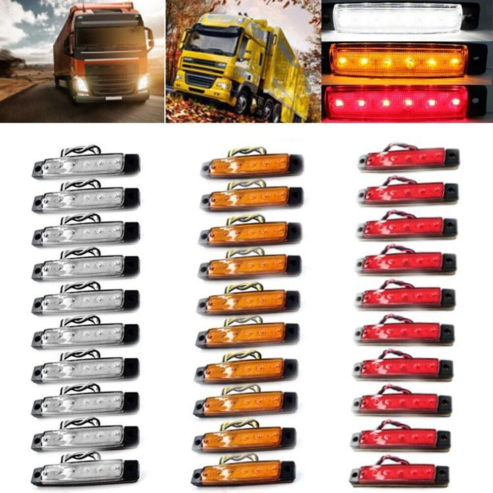 30Pcs 6 LED 12V Side Marker Indicators Lights Lamp for Car Truck Trailer Lorry (Red, Yellow and White)