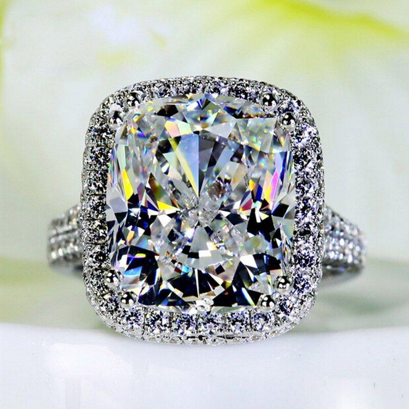 Big Jewelry Women ring cushion cut 10ct AAAAA zircon cz 14KT White Gold Filled Female Engagement Wedding Band Ring Gift