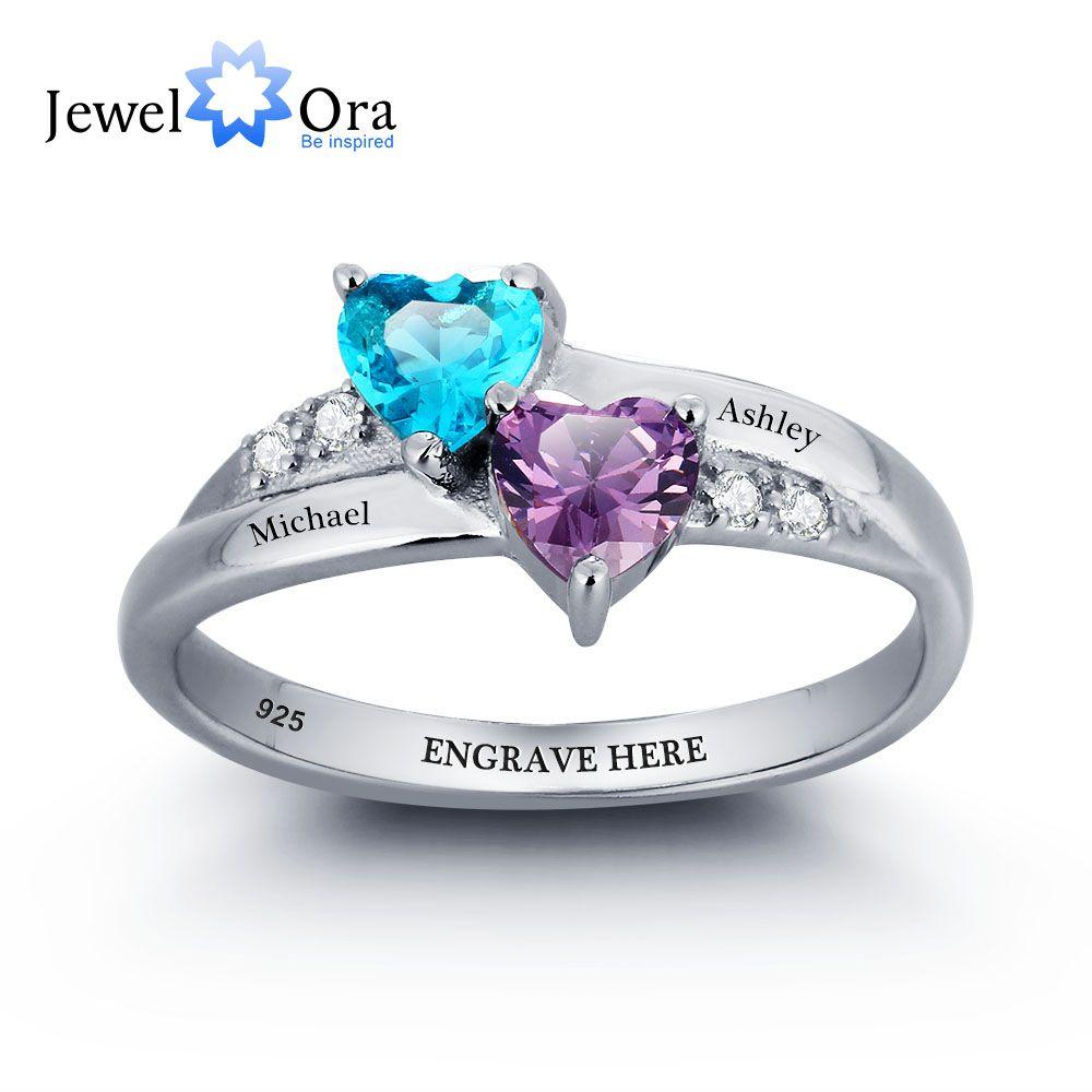 Кольцо с комером,соответстуюшщий месяцу рожения,можно выгравировать имя Чистого серебра 925 обручальное кольцо diy сердце любовь формого кол...