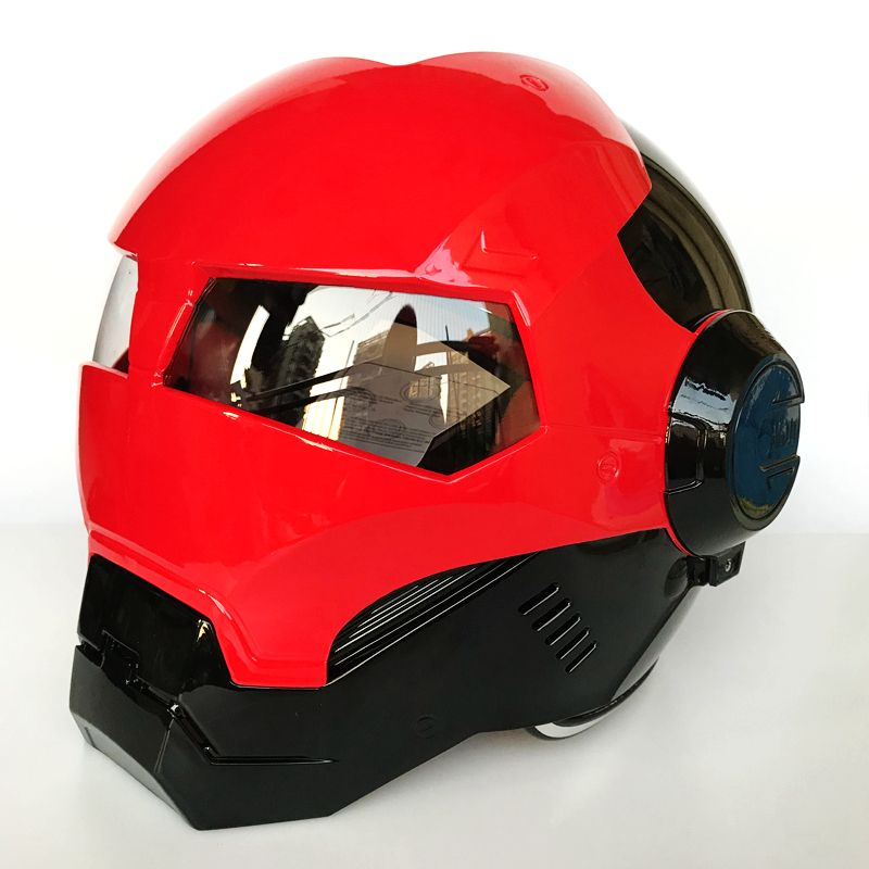 2018 MASEI Bright Red / Black iron Man helmet motorcycle helmet half helmet open face helmet casque motocross red 610 M L XL