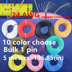 Free shipping Bulk 1pin 5 metres super flexible 24AWG PVC insulated  Wire Electric cable, LED cable, DIY Connect 10 color choose
