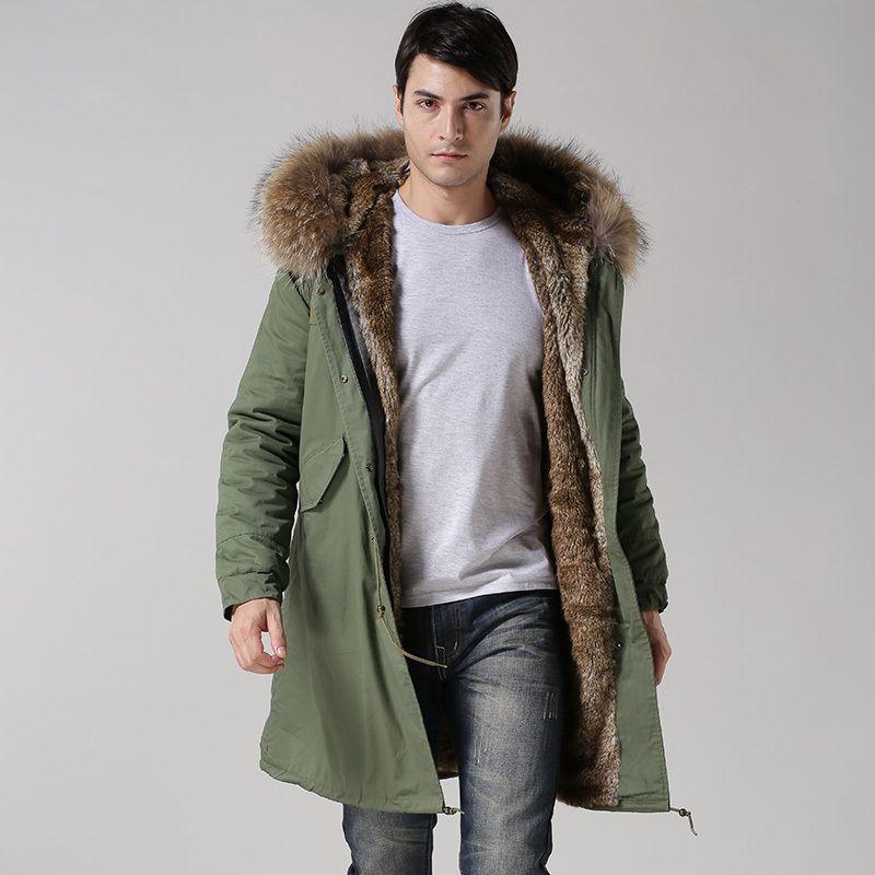 2017 Winter Casual Mens real collar outwear coats military man jacket winter long jacket men Parka Coats