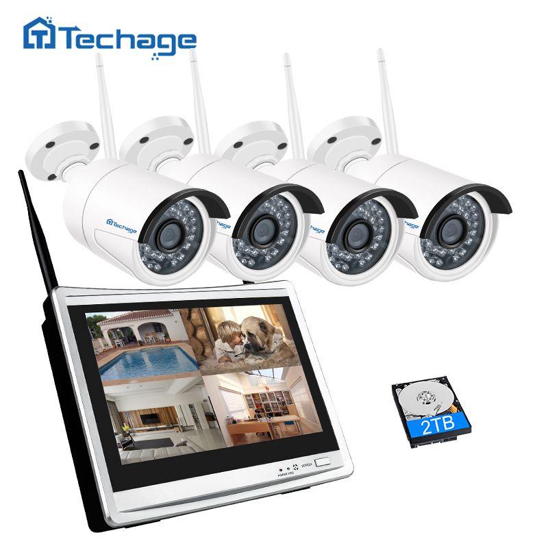 Techage Wireless CCTV Camera System 4CH 1080P 12inch LCD Wifi NVR 2MP IR Outdoor Security IP Camera P2P Video Surveillance Kit