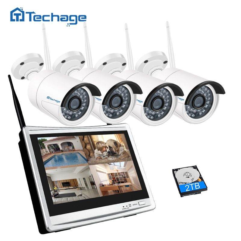 Techage Wireless CCTV System 4CH 1080P 12inch LCD Wifi NVR 2MP IR Outdoor Security IP Camera P2P Video Surveillance Kit 1TB HDD