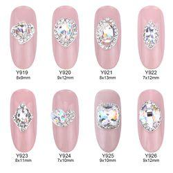 10 Pcs Kristal Berlian Imitasi Nagel Dekoratif Paku Seni Berlian Imitasi Paduan 3D Dekorasi Glitter Perhiasan Kuku Manikur Aksesoris Y919