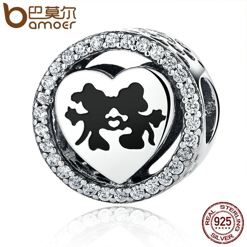 BAMOER Real 925 Sterling Silver Sparkling Minnie Sweet Cartoon Love Story with Clear CZ Charms Beads Fit Bracelet Jewelry PSC058