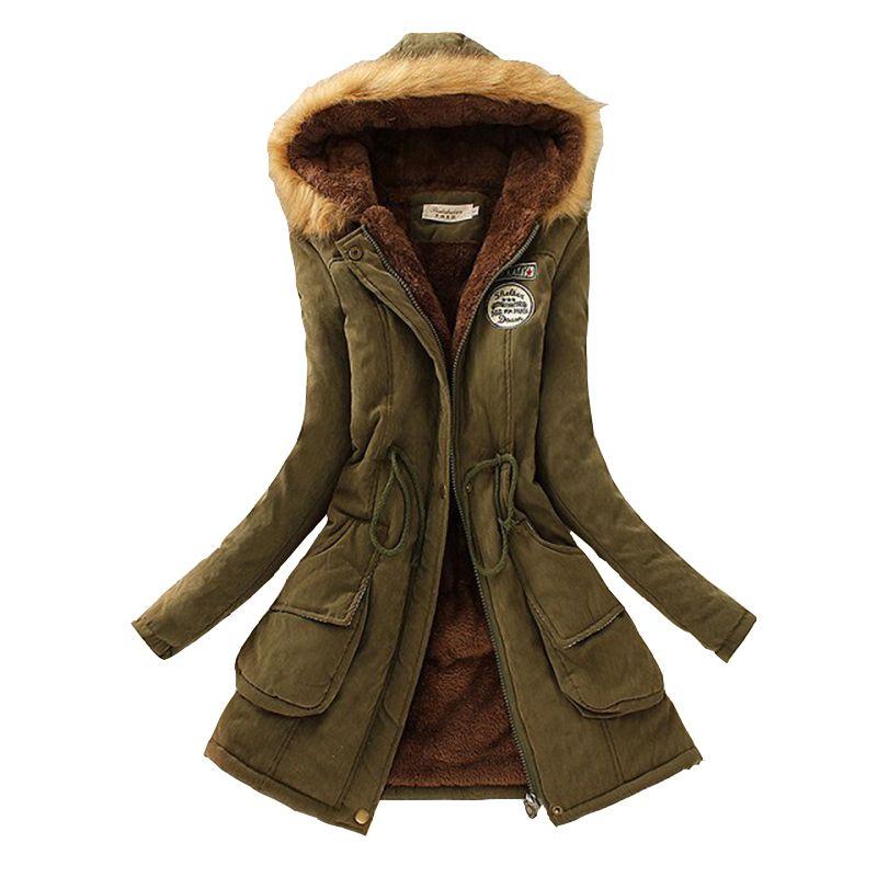 Зимние Для женщин пальто 2017 куртка повседневная верхняя одежда Военная Униформа пальто с капюшоном женская одежда Мех животных Пальто для ...