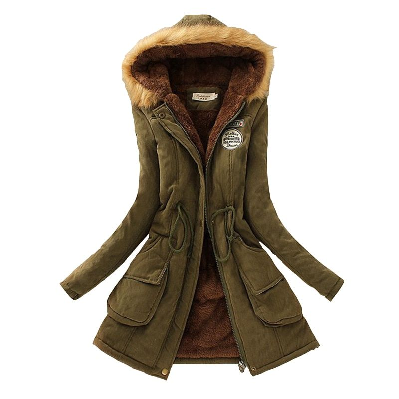 Зимние женские пальто 2017 куртка повседневная верхняя одежда в стиле милитари с капюшоном пальто женщина одежда пальто с мехом женская зимн...