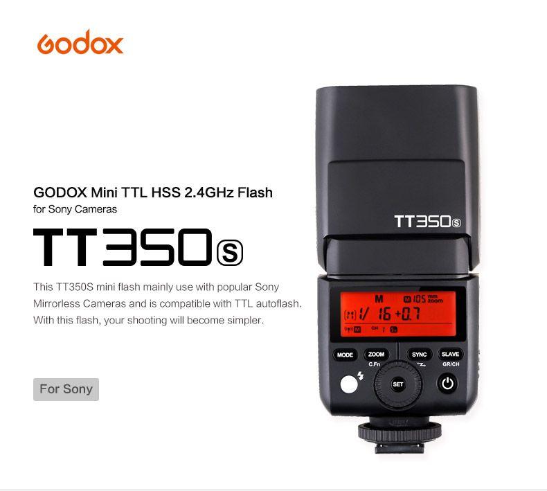 Godox Mini Speedlite TT350S Caméra Flash TTL HSS GN36 1/8000 S pour Sony MI Caméra A7 A6000 A7RII A6300 A6500 A7s/X1T-S