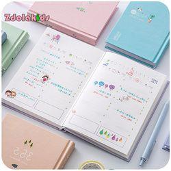 Baru 365 Hari Pribadi Diary Planner Hardcover Notebook Jadwal Mingguan Lucu Korea Stationery Bunga Agenda