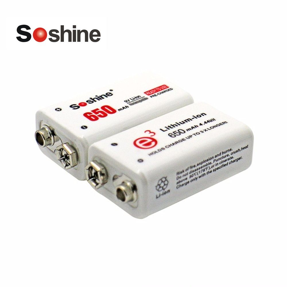 Soshine 2 pièces batterie d'alimentation 6F22 9 V Li-ion Lithium 650 mAh chimie batterie Rechargeable pour Instruments électroniques