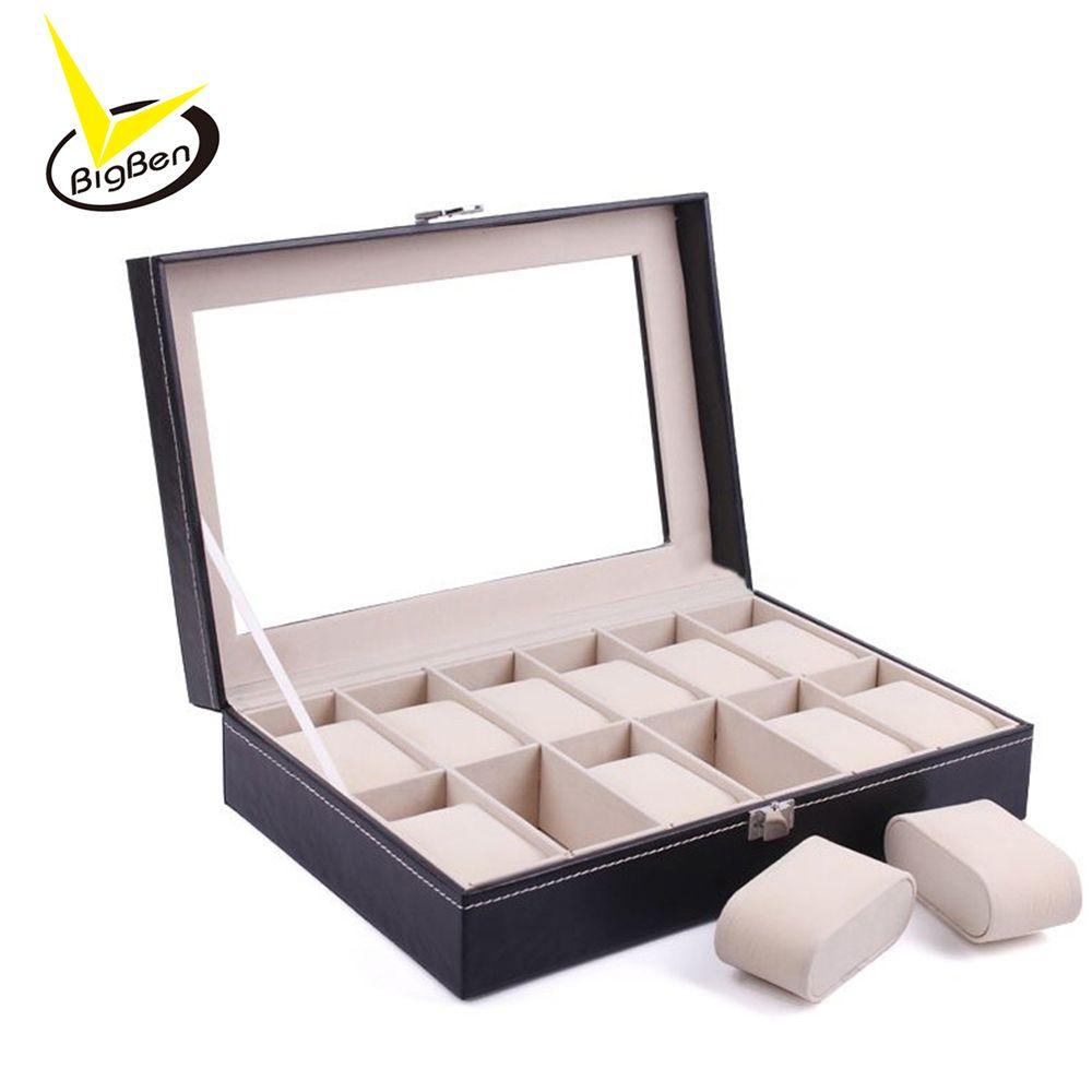 Luxury Watch Box 12 Grid Leather Watches Box Jewelry Display Collection Storage Case Watch Organizer Holder reloj caixa relogio
