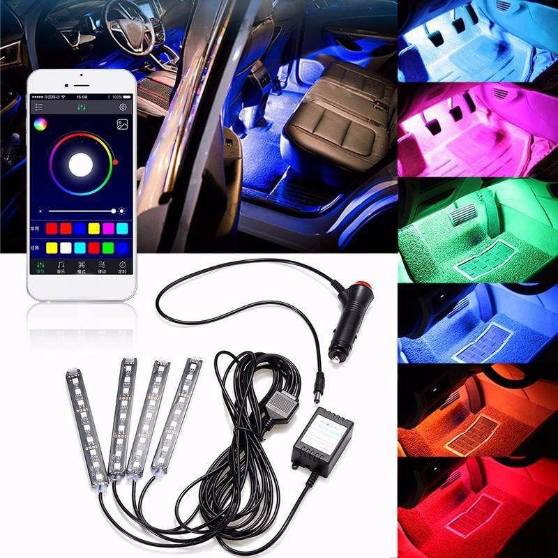 <font><b>4pcs</b></font> Car RGB LED Strip Light 16 Colors Car Styling Decorative Atmosphere Lamps Smart Wireless Phone APP Control Voice Control