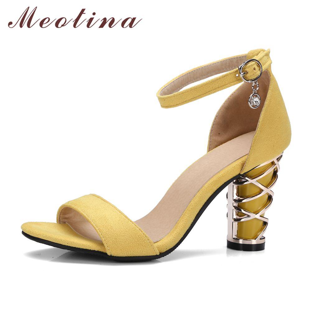 Meotina chaussures femmes sandales bride cheville talons hauts Design épais talon haut chaussures de fête sandales jaune noir grande taille 11 45 46