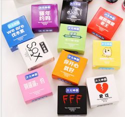 55 teile/los (5 teile/schachtel 11 boxs/lot) cartoon Lustige Kondom Form Nass Wischen Nass Gewebe Sauber Haut & dating Halloween Gesamte Spielzeug Sexy