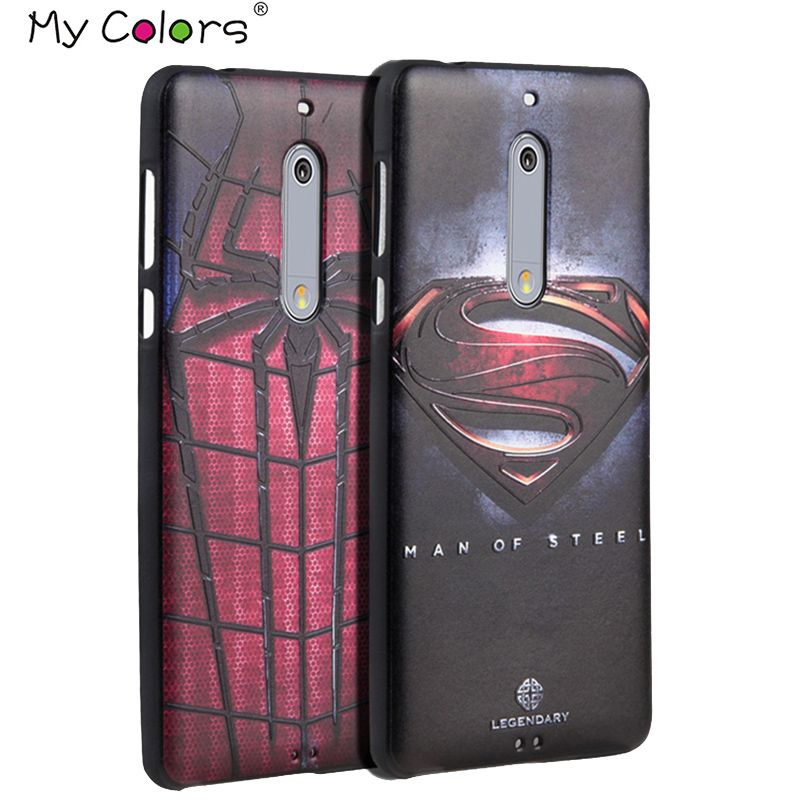 Für Nokia 5 6 Nokia6 Nokia5 fall 3D Relief malerei silikon-rückseitige abdeckung fällen Marvel Spiderman Batman Captain America
