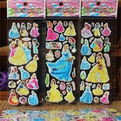 10 pcs princesses/tinker bell/mermaid/snow white 3D foam stickers party supplies decoration kids gift children toys