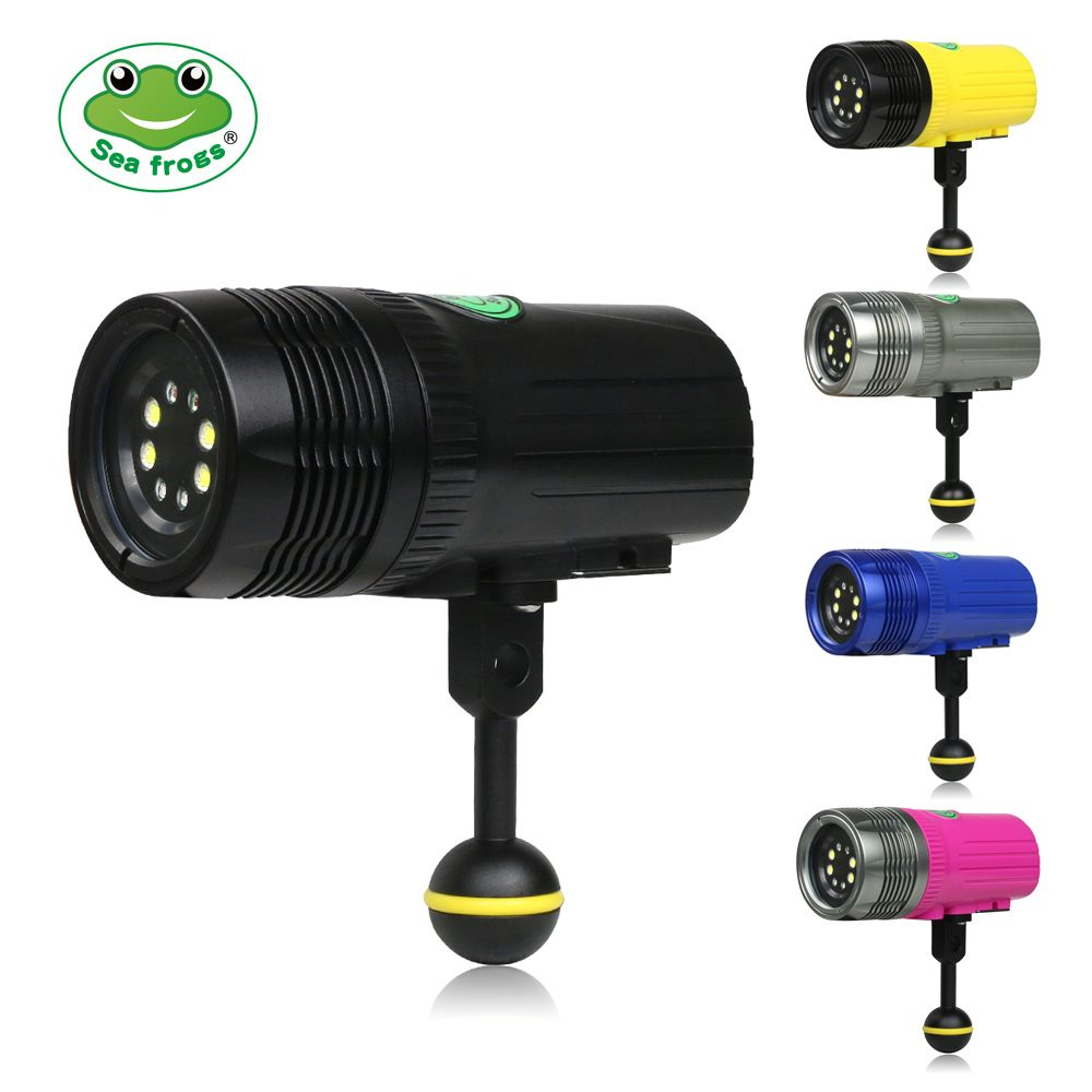 LED Screen Diving Flashlight 2500 LM Underwater 100m Photography Rechargeable Torch Red Purple Light Fine Turning Brightness