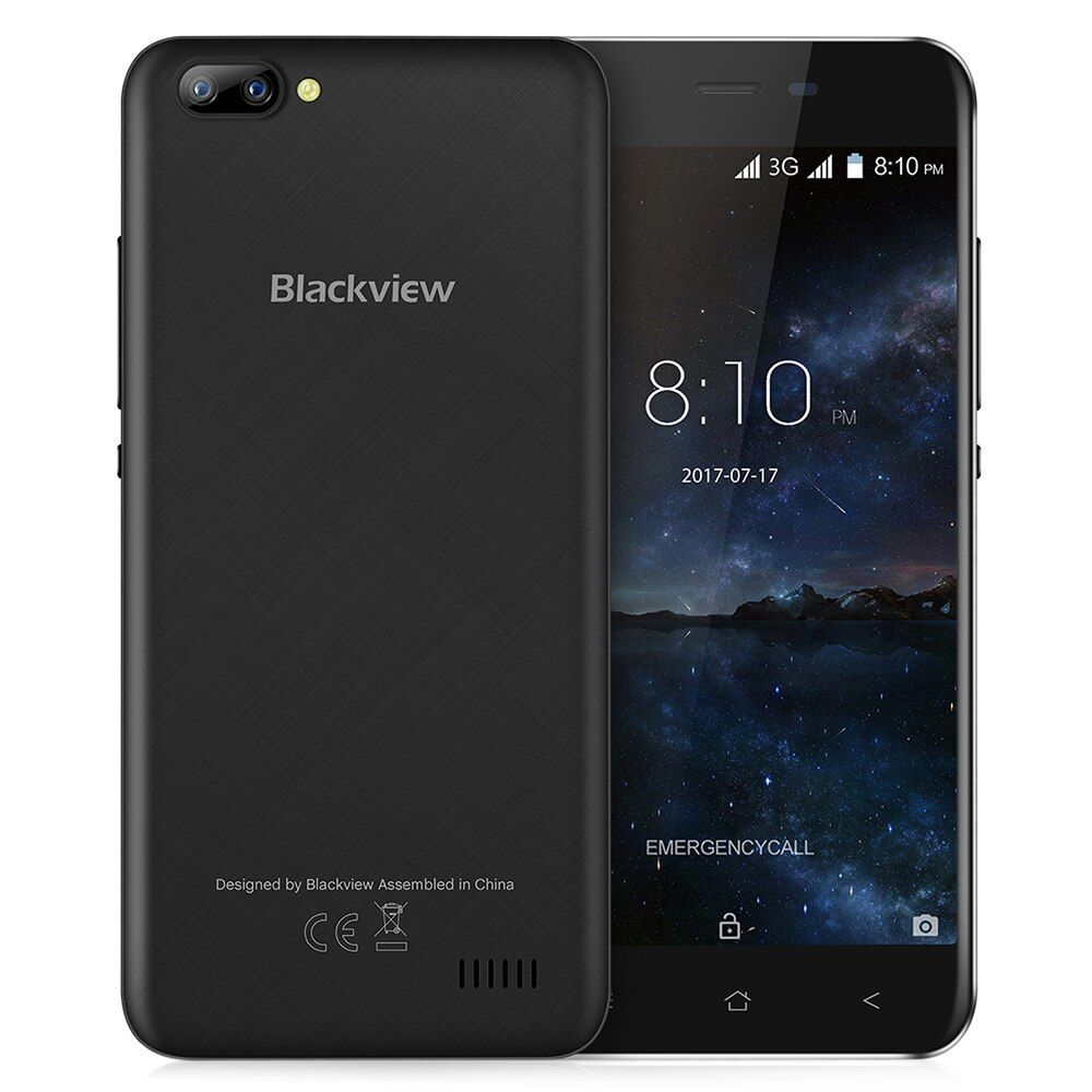<font><b>Blackview</b></font> A7 3G Smartphone Android 7.0 5.0 inch Original IPS Screen MTK6580A 1.3GHz Quad Core 1GB RAM 8GB ROM 0.3MP Mobile Phone