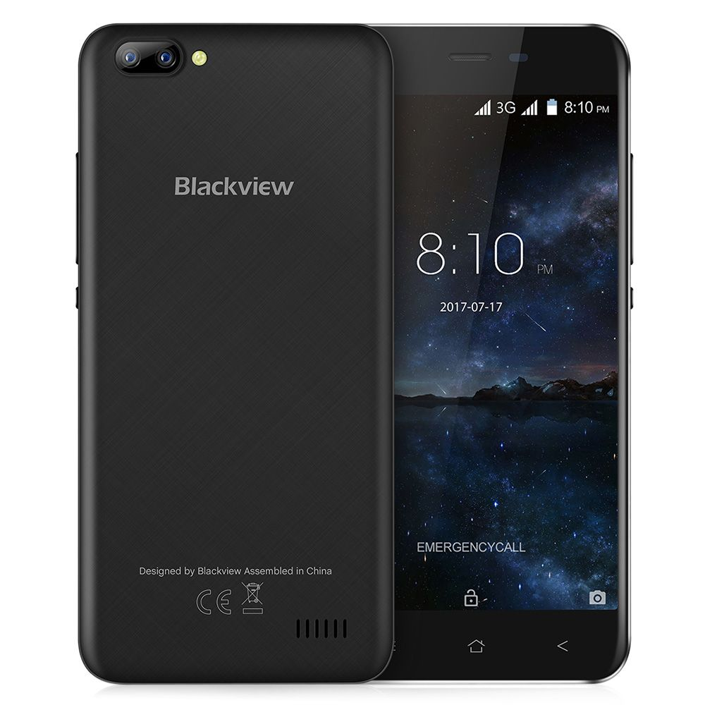 Blackview A7 3G Smartphone Android 7.0 5.0 inch Original IPS Screen MTK6580A 1.3GHz Quad Core 1GB RAM 8GB ROM 0.3MP Mobile Phone
