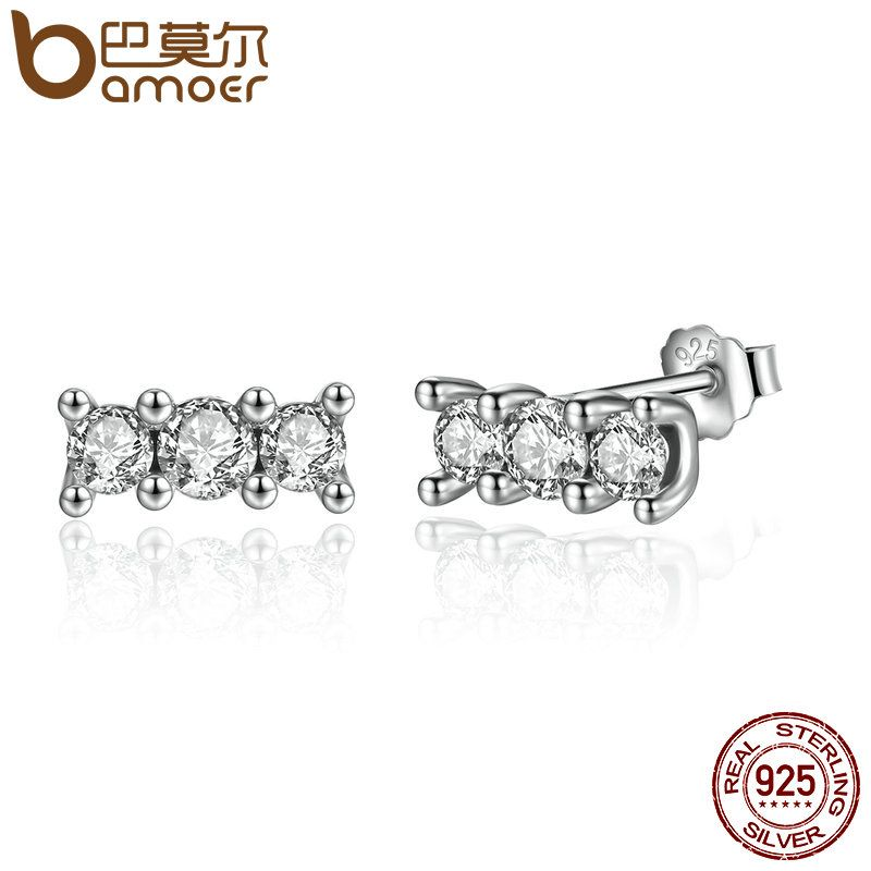 BAMOER Hot Sale 925 Sterling Silver Sparkling Elegance, Clear CZ Stone Stud Earrings Women Engagement Jewelry Brincos PAS487
