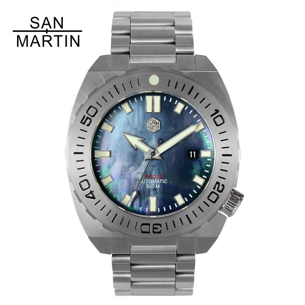 San Martin Men Mechanical Watch Diving Wristwatch 500 Merter Water Resistance Stainless Steel Watch Relojes Hombre 2018 New