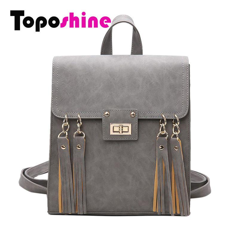 Toposhine 2018 New Tassel Women Backpack Black PU Leather School Backpack Women Backpacks For Teenage Girl School Bags 1650