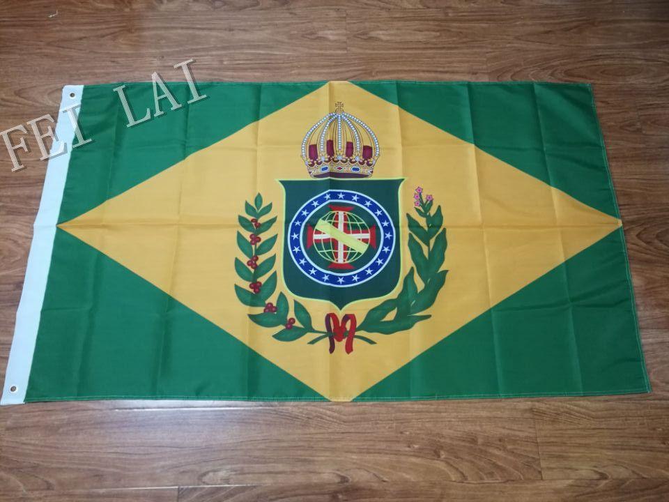 Empire du brésil (1870-1889) bannière drapeau 20 étoiles avec deux œillets en métal 3ftx5ft