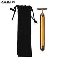CAMMUO Minceur Visage 24 k Or Vibrations Beauté Du Visage Rouleau Masseur Bâton Ascenseur Raffermissement De La Peau Rides Bar Visage avec Noir sac