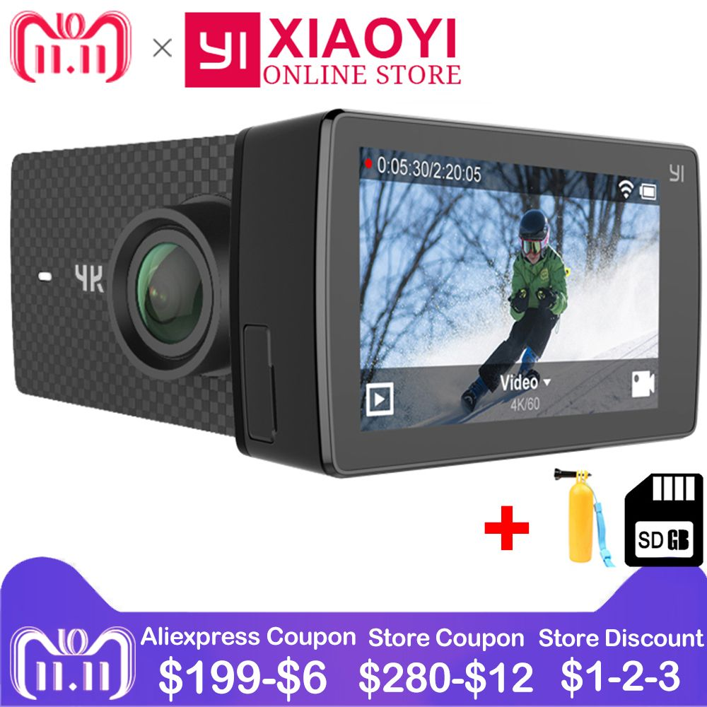 Xiaomi YI 4K+(Plus) Action Cam Sport Camera Xiaoyi 4K+ Action Camera Amba H2 4K/60fps 12MP CMOS 2.2