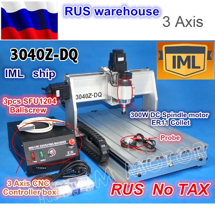 RU ship Desktop 3 Axis 3040Z-DQ 300W Spindle Ball screw CNC ROUTER ENGRAVER/ENGRAVING DRILLING Milling Cutting machine 220V/110V
