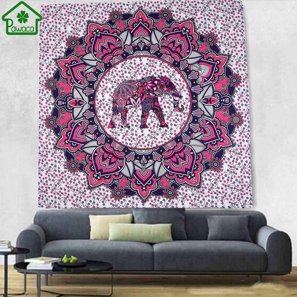 Éléphant Bohème Tapisserie Coloré Décoratif Mandala Tapisserie Indien Boho Hippie Mur Tapis Décor À La Maison Couverture Nappe