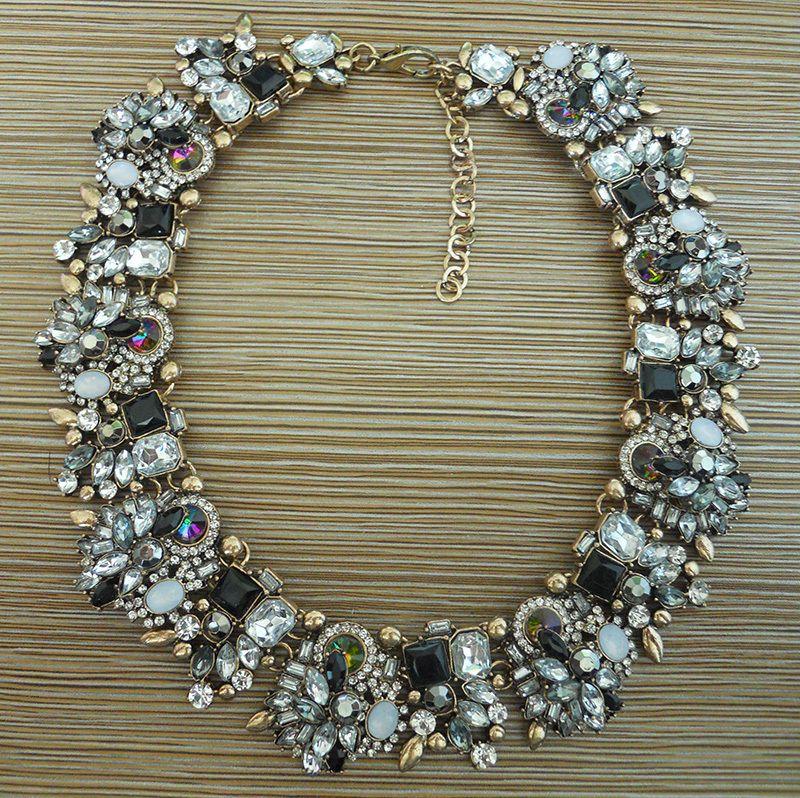 PPG & PGG 2019 nouveau bijoux de fête de dame Vintage or métal noir cristal mélangé strass conception courte femmes collier ras du cou colliers
