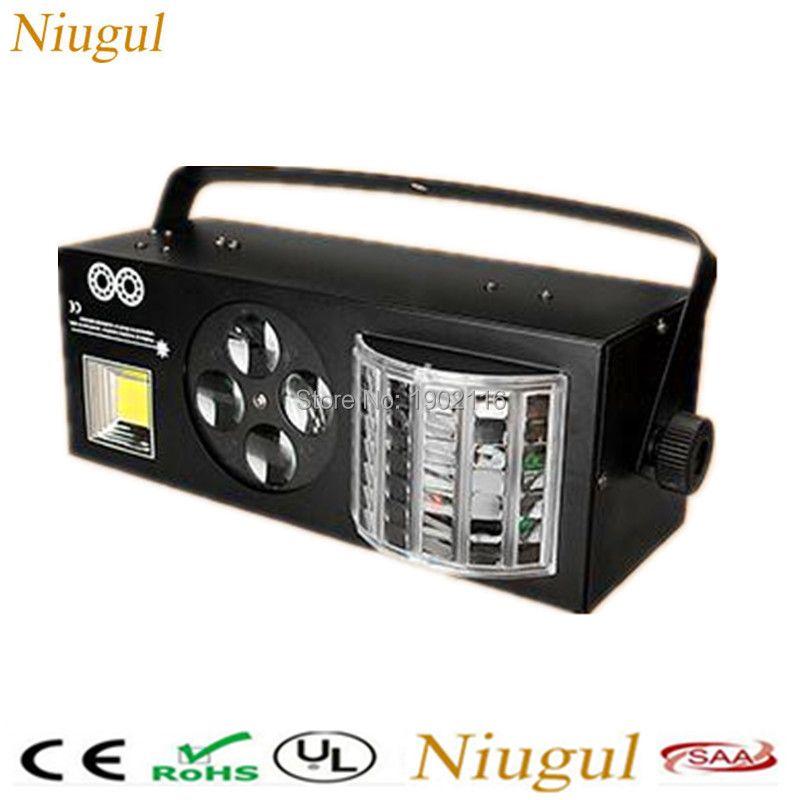 LED 4in1 Effect Lights ,LED Butterfly Light+RG Laser+4 Eyes Patterns Light +White LED Strobe,DMX512 KTV Club Disco DJ Lighting